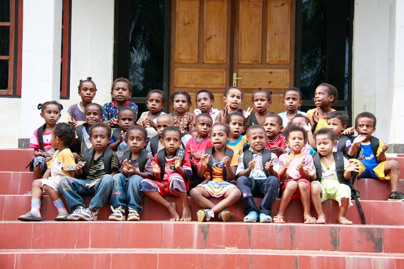 East Indonesia children on steps