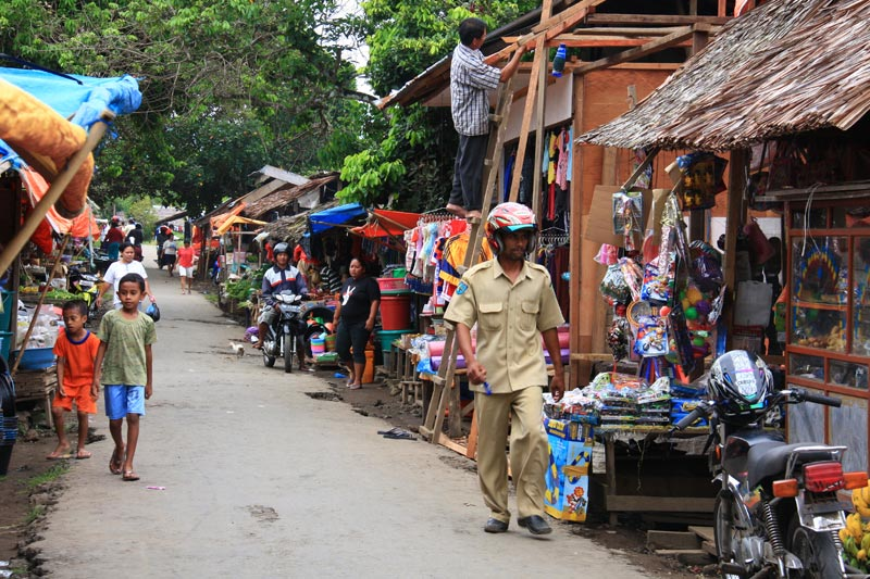 East Indonesia colorful market stalls