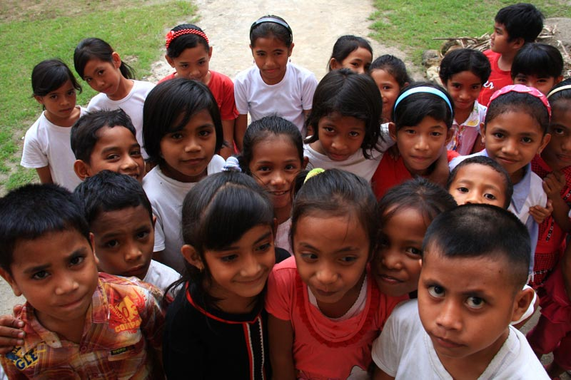 East Indonesia group of children closeup