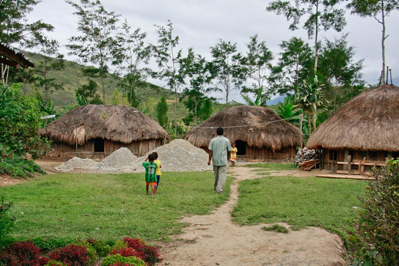 East Indonesia homes with thatch roofs