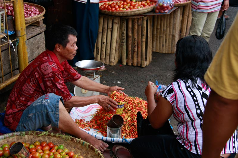 East Indonesia man selling chilies