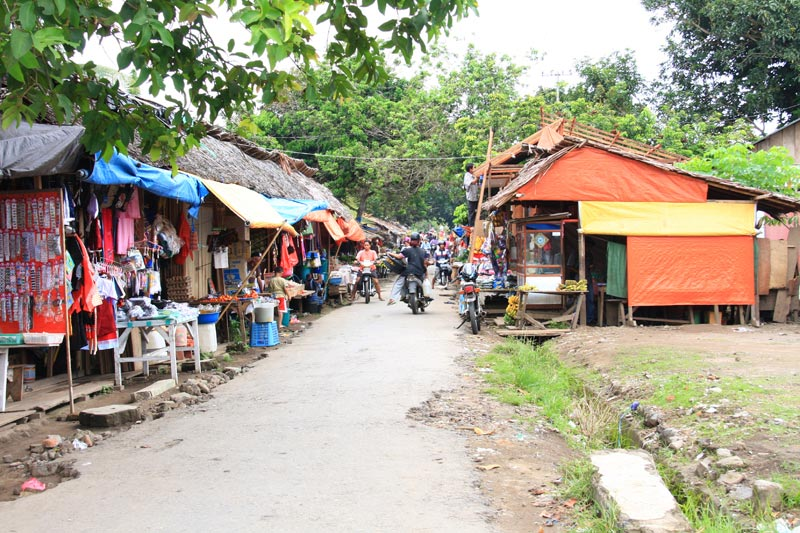 East Indonesia road through market stalls