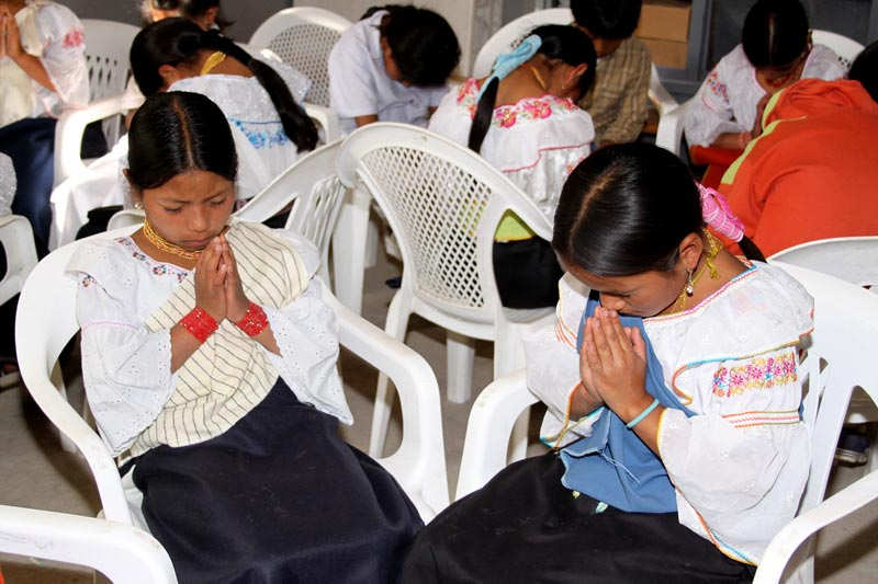 Ecuador Children Praying in Small Groups