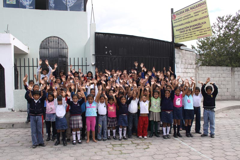 Ecuador Children Outside Project Building