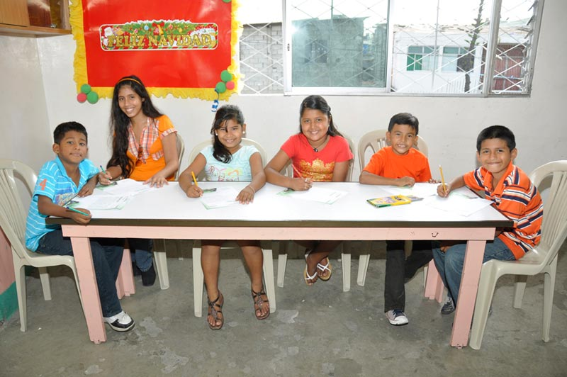 Ecuador Children Working at a Table