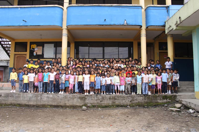 Ecuador Large Group of Children Outside of Project