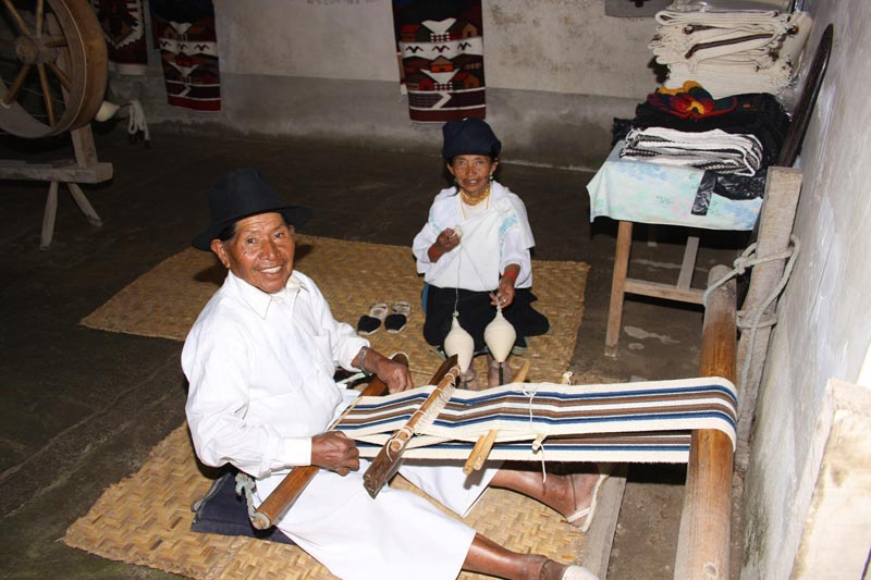 Ecuador Men Weaving a Blanket