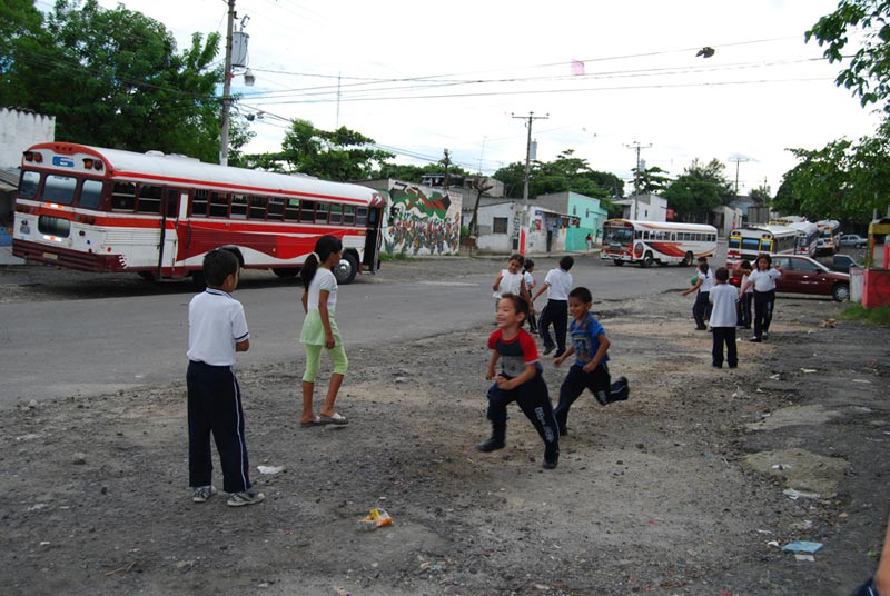 El Salvador Children Playing on Road