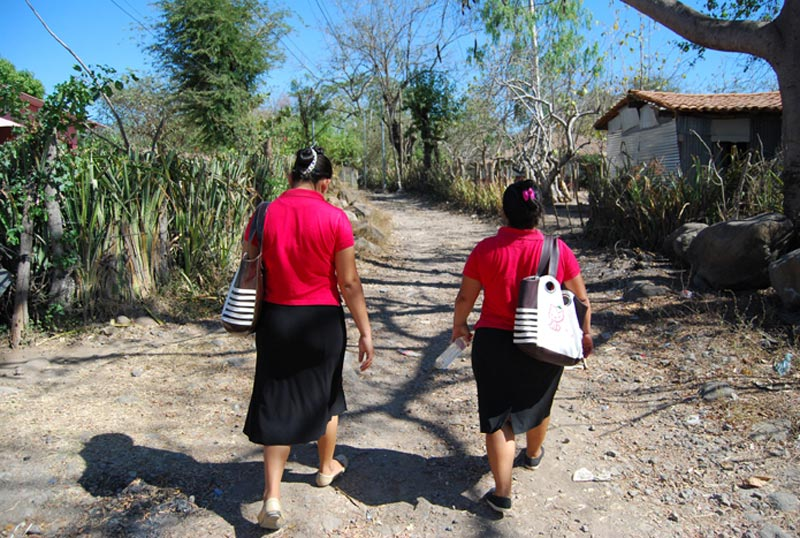 El Salvador Two Women on Road