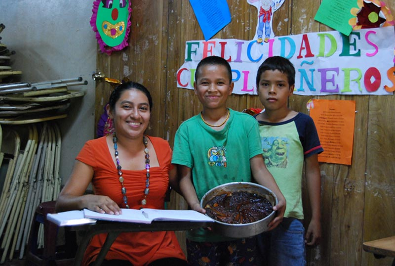 El Salvador Woman and Boys in Classroom