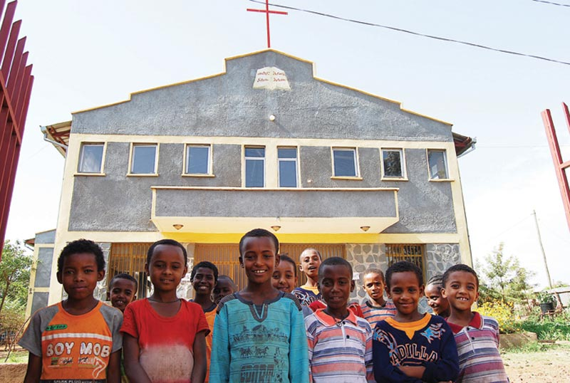 Ethiopia Boys in Front of Church