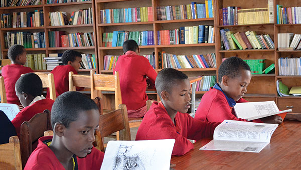 Ethiopia Boys Reading in Library