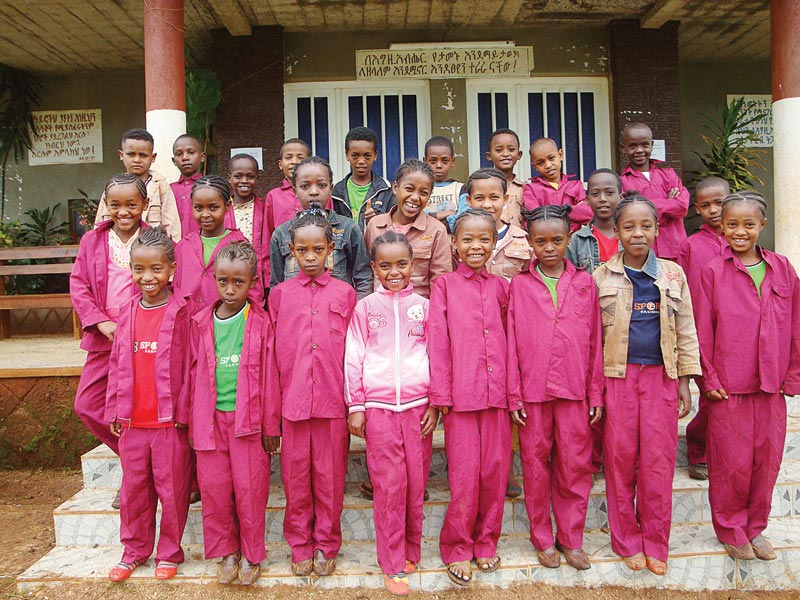Ethiopia Children in Red Uniforms