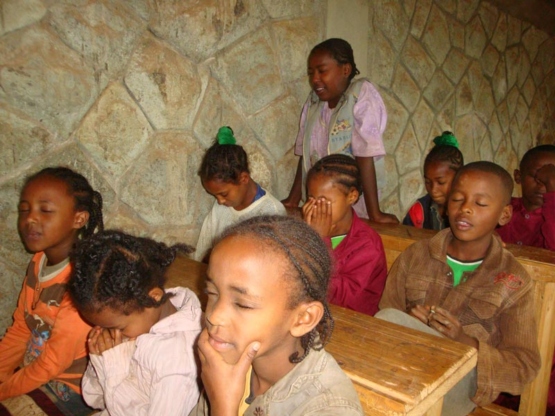 Ethiopia Children Praying in Class