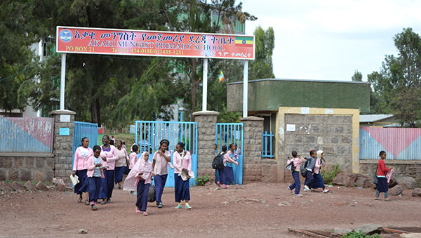 Ethiopia Girls at the Project Entrance