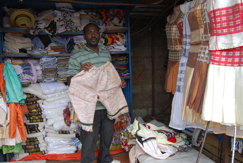 Ethiopia Man in Clothing Shop