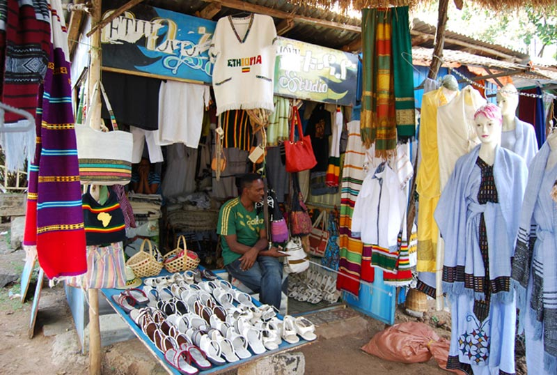 Ethiopia Man in a Small Clothing Shop