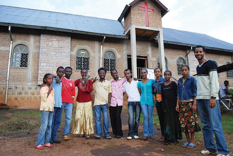 Ethiopia Men and Women in Front of Church