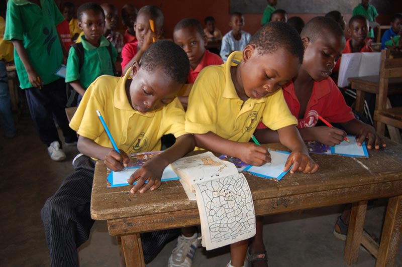 Ghana Boys Studying in a Classroom