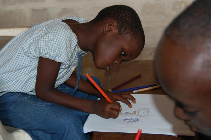 Ghana Girl Drawing a Picture