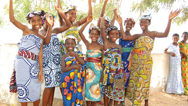 Ghana Girls in Colorful Traditional Dress