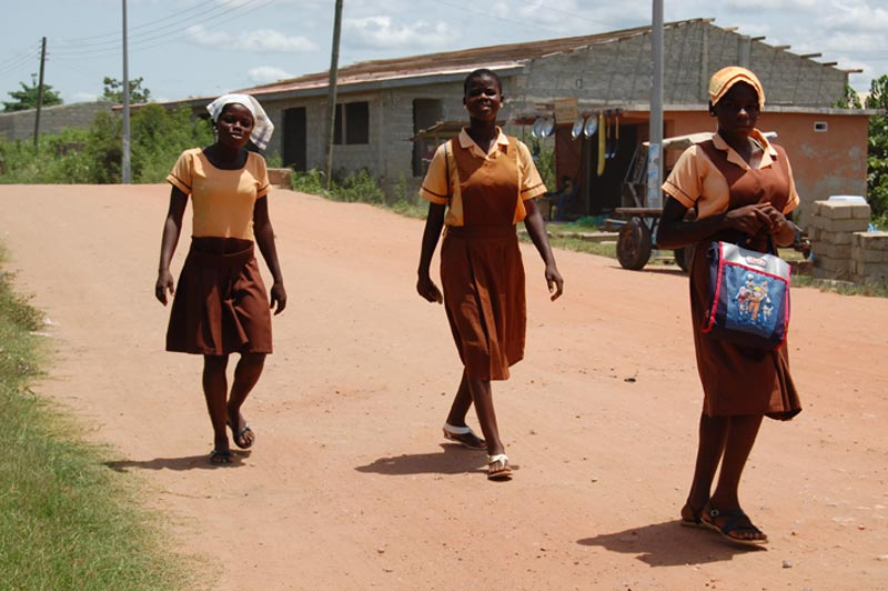 Ghana Girls in Uniform on Road