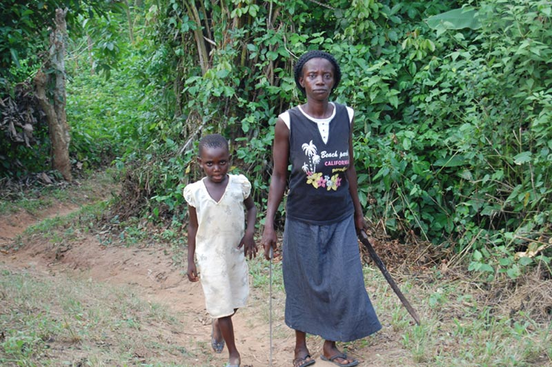 Ghana Woman and Girl on a Path