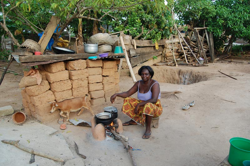 Ghana Woman at a Cooking Fire