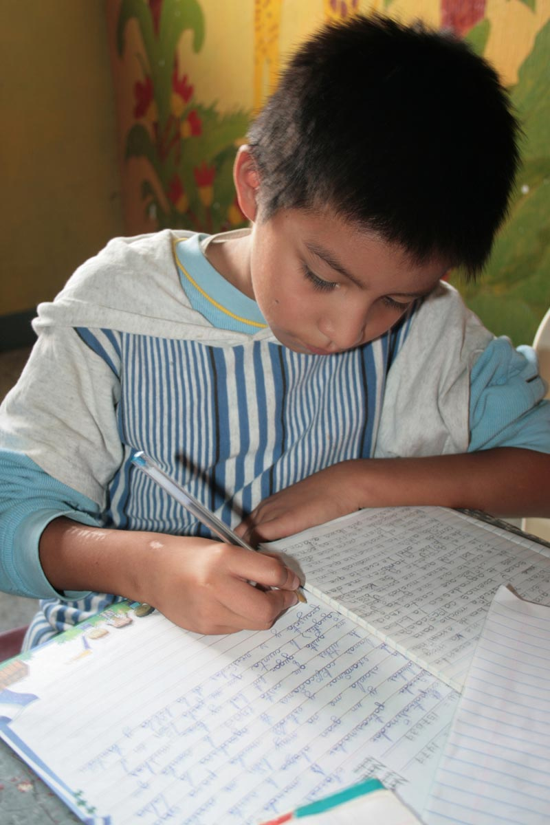 Guatemala Boy Writing Sponsor Letter