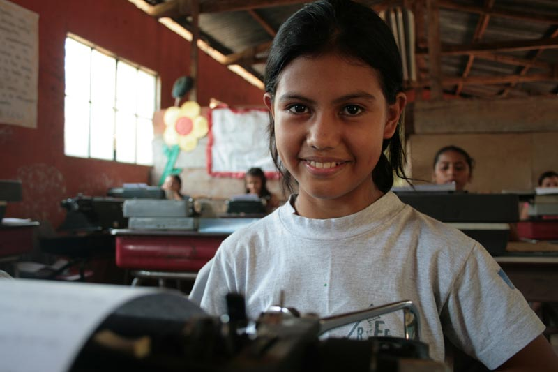 Guatemala Girl at Typewriter