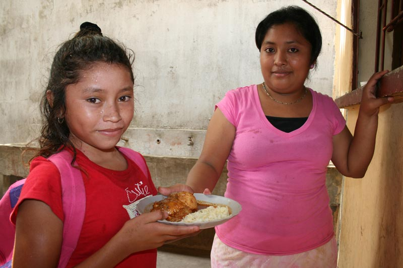 Guatemala Girl with Plate of Food