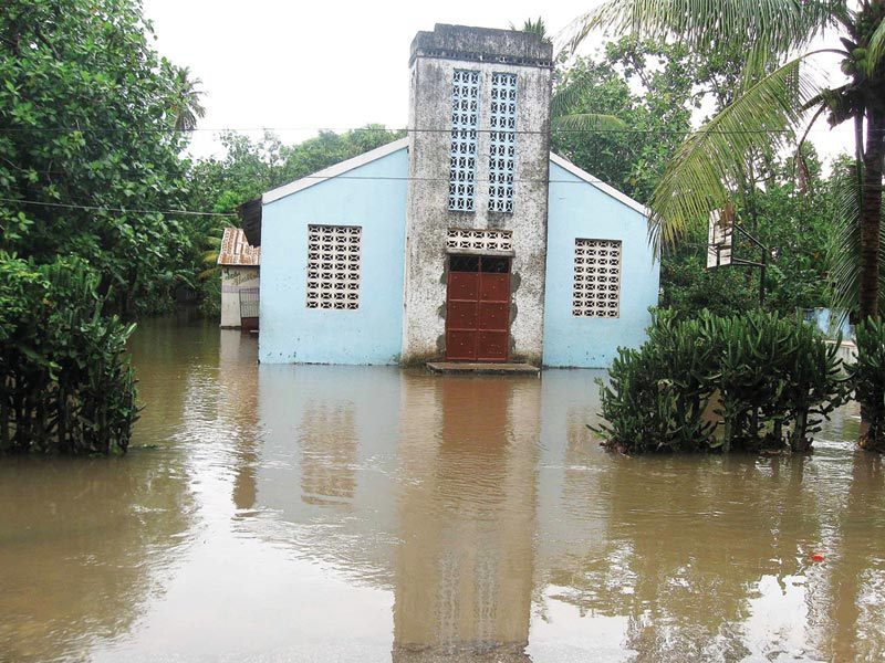 Haiti Church and Floodwater