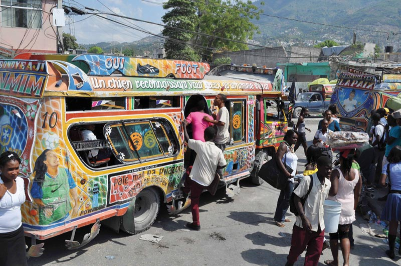 Haiti Colorful Bus on Street