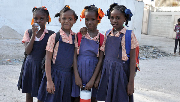 Haiti Four Girls in Uniform
