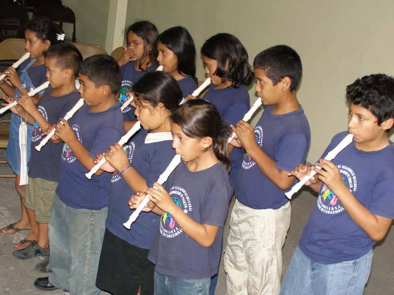 Honduras Children Playing Recorders