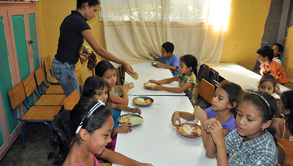 Honduras Children with Plates of Food