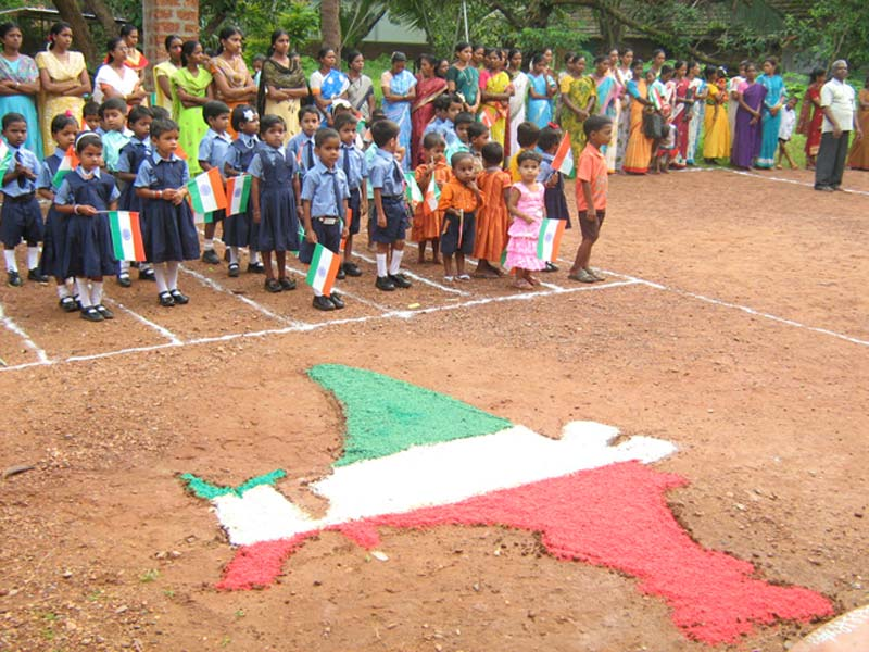 India children holding India flags