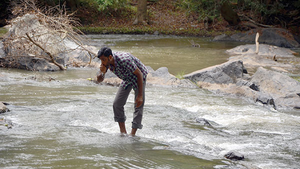 India man in water