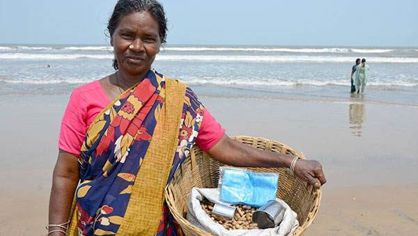 India woman on beach