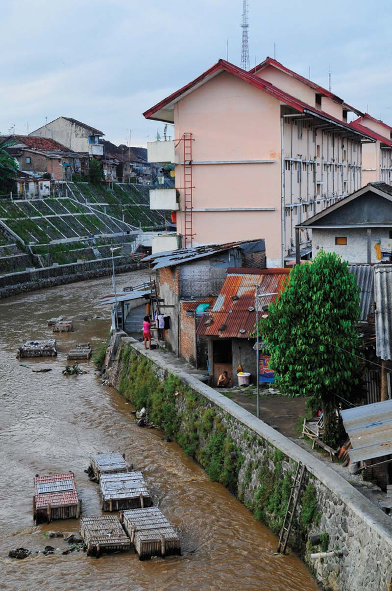 Indonesia river with walls