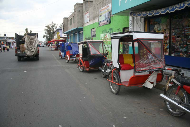 Mexico Bike Taxis Parked on the Road