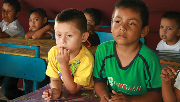 Mexico Children at Classroom Desks