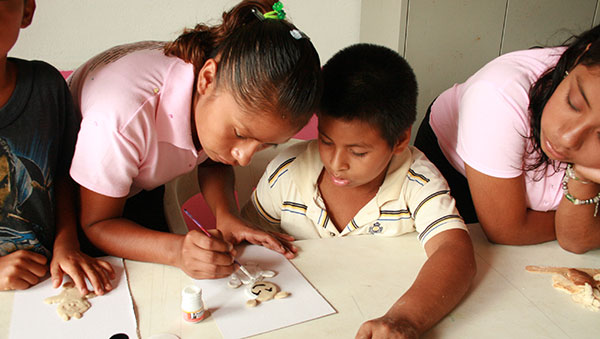 Mexico Children Doing Crafts