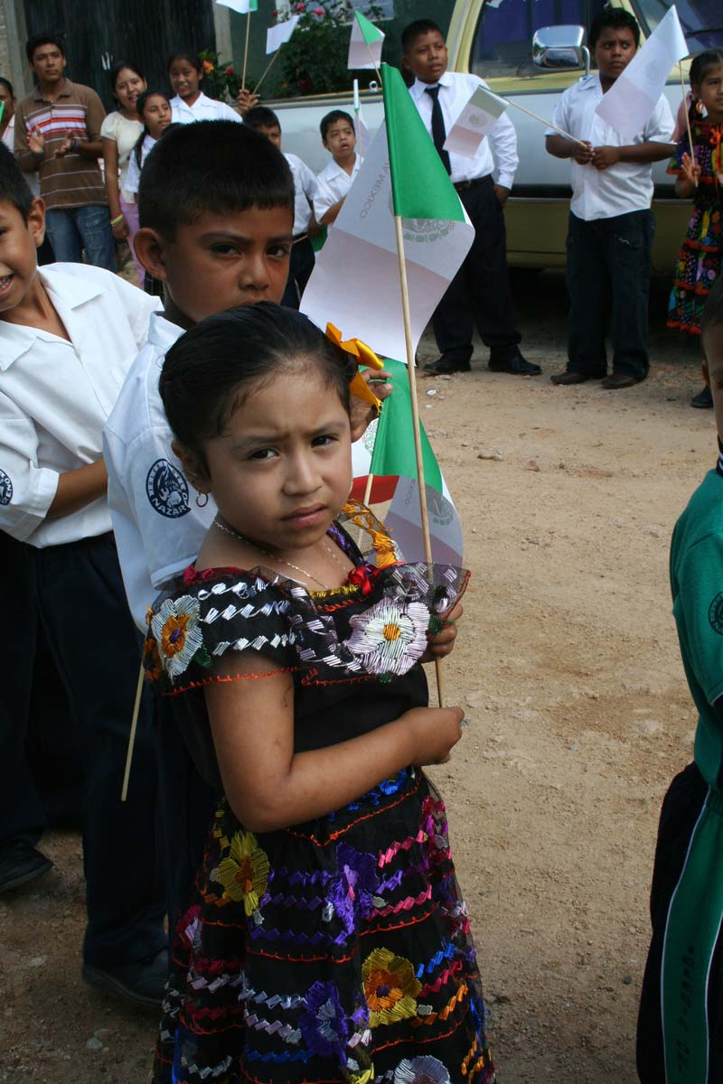 Mexico Children Holding Flags