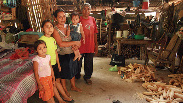 Mexico Family in a Typical Indigenous Home
