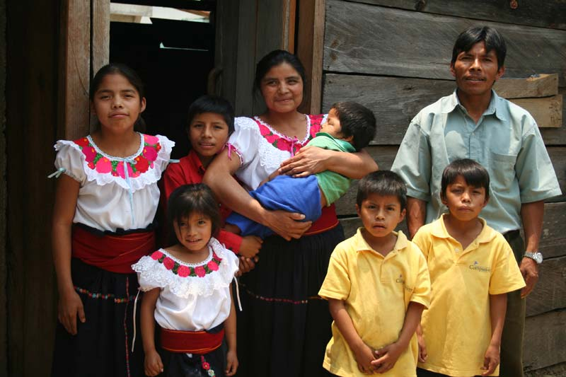 Mexico Family Outside of Their Home