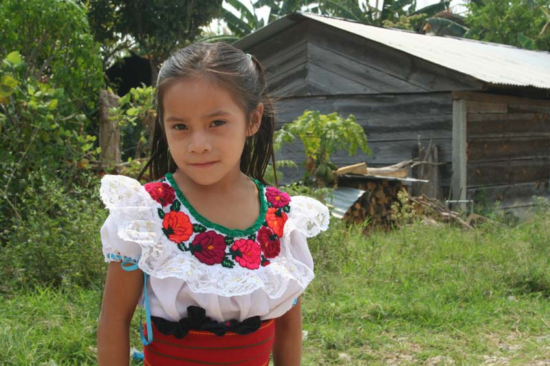 Mexico Girl With a Flowered Dress