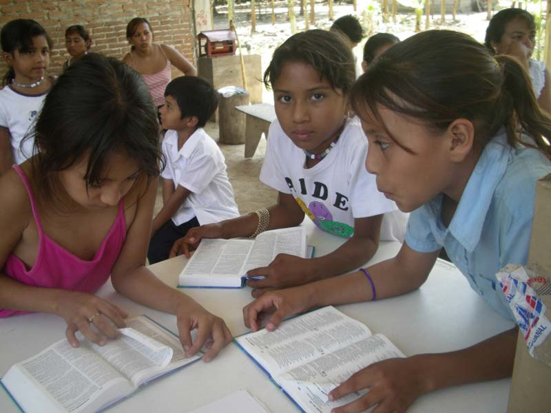 Mexico Girls Reading Their Bibles