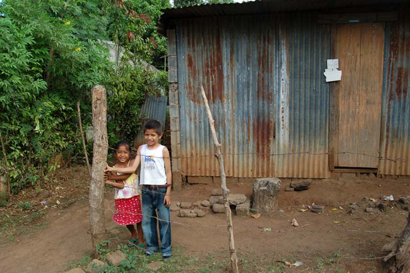 Nicaragua Boy and Girl Outside of Their Home
