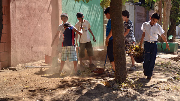 Nicaragua Boys Working in the Dirt